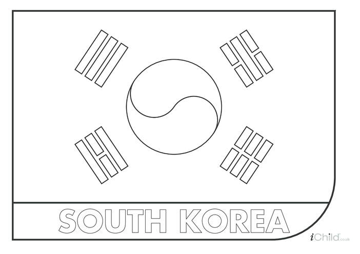 Thumbnail image for the South Korea Flag Colouring in Sheet activity.