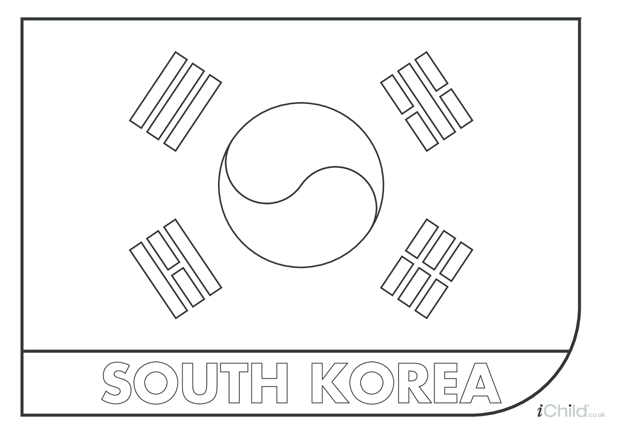 South Korea Flag Colouring in Sheet