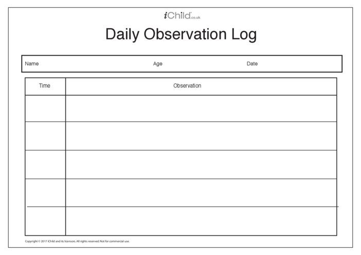 Thumbnail image for the Daily Observation Log activity.