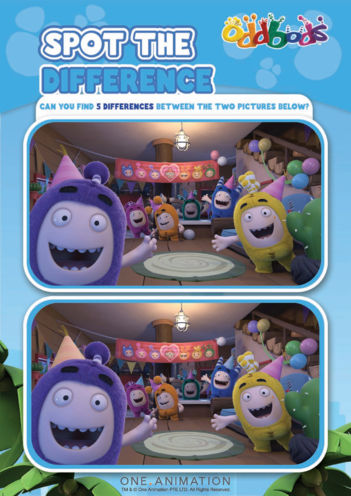 Thumbnail image for the Spot the Difference 1 Oddbods activity.