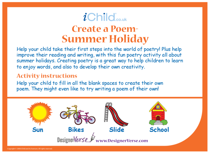 Thumbnail image for the Poem - Summer Holiday activity.