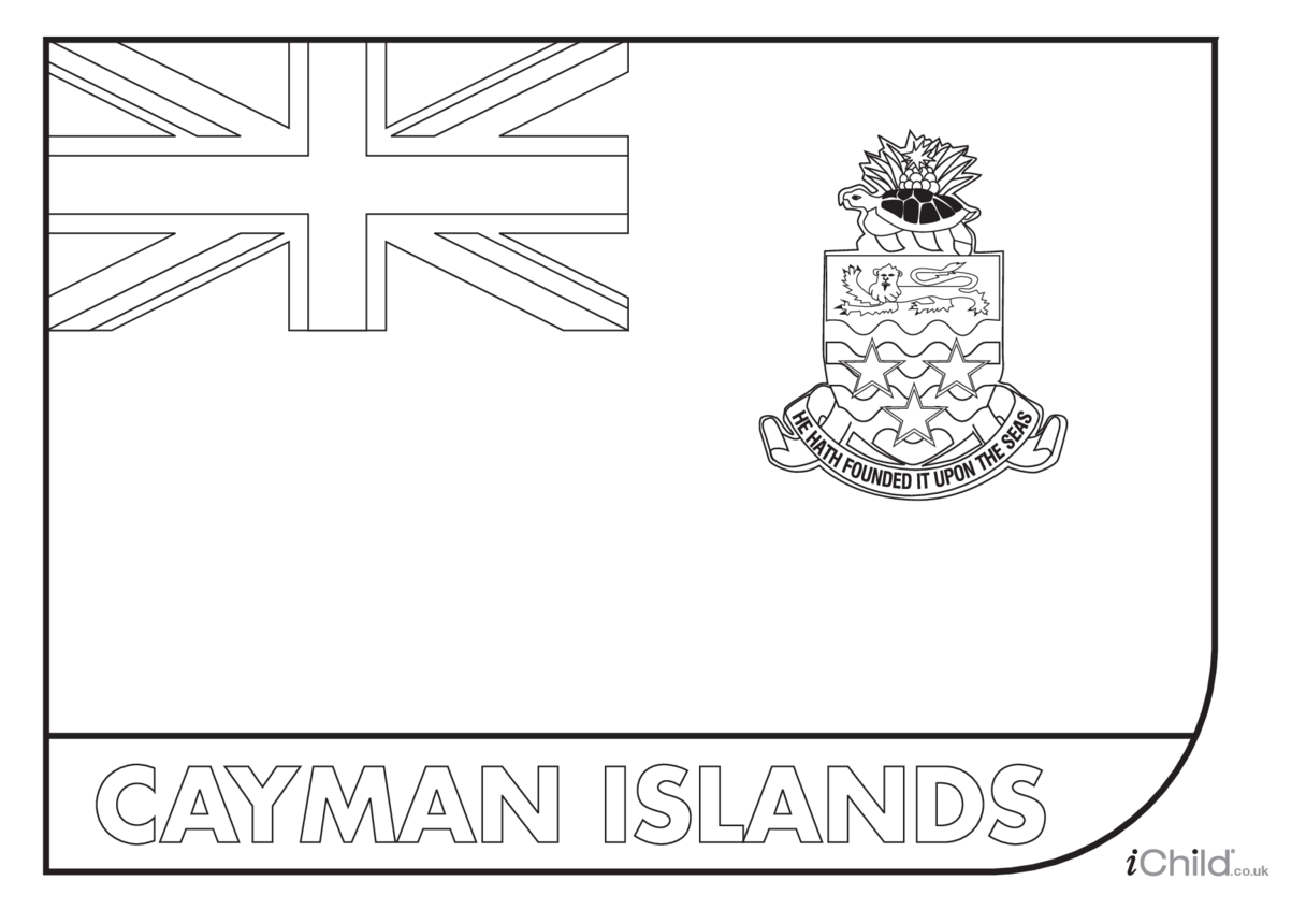 Cayman Islands Flag Colouring in Picture (flag of the Cayman Islands)