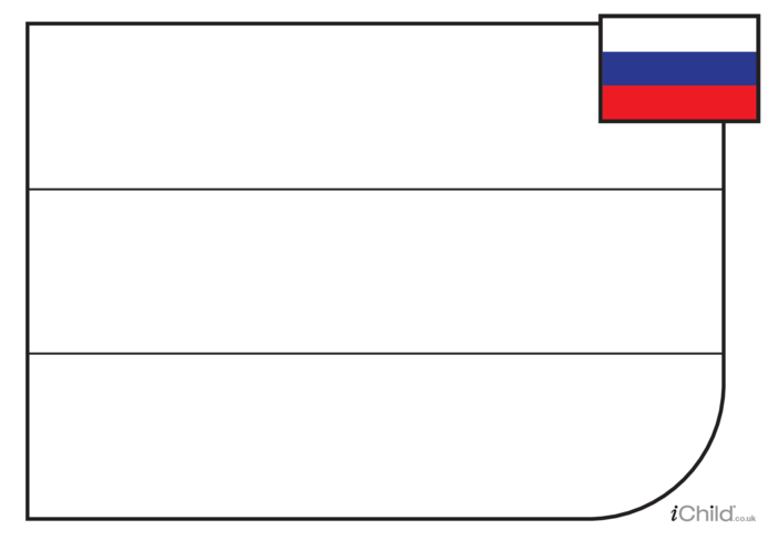 Thumbnail image for the Russian Flag Colouring in Picture (with clue) activity.