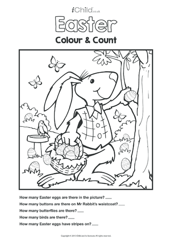 Thumbnail image for the Colour in & Count Easter Bunny's Easter Eggs activity.
