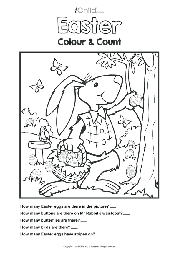 Colour in & Count Easter Bunny's Easter Eggs