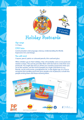 Thumbnail image for the EYFS Lesson Plan: Holiday Postcards (Pip Ahoy!) activity.