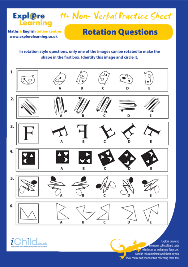 Maths: 11 Plus Practice Paper: Non-Verbal Reasoning - Rotation Questions