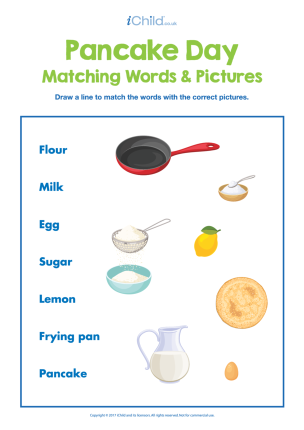 Pancake Day Matching Words & Pictures