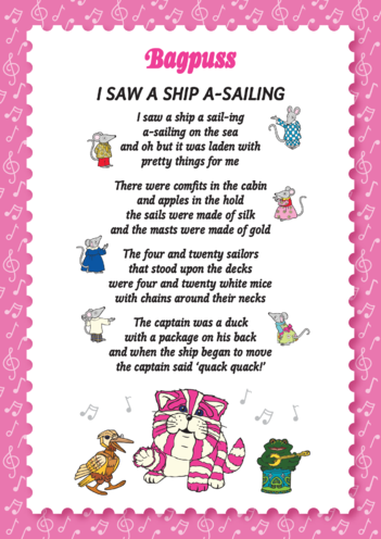 Thumbnail image for the Bagpuss: I Saw A Ship A' Sailing Lyric Sheet (EYFS/KS1) activity.