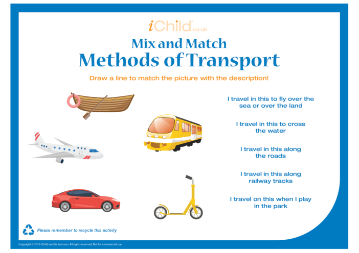 Thumbnail image for the Mix & Match Methods of Transport activity.