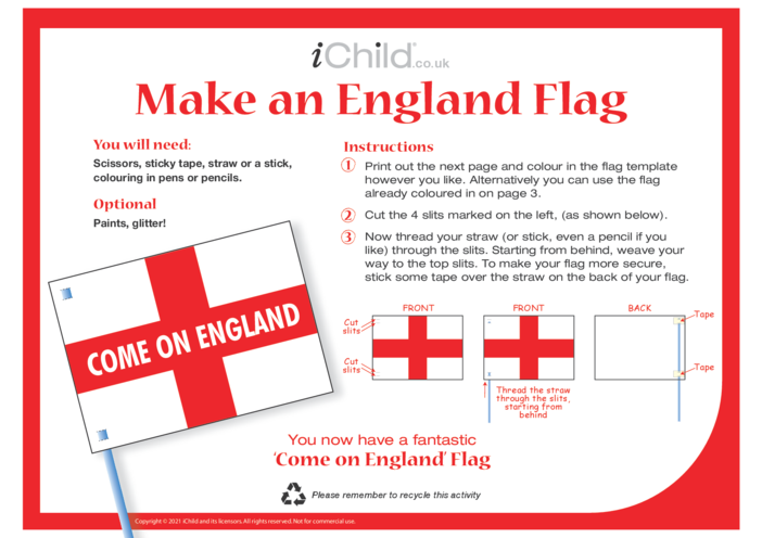 Thumbnail image for the Come on England! Make a Flag craft activity.