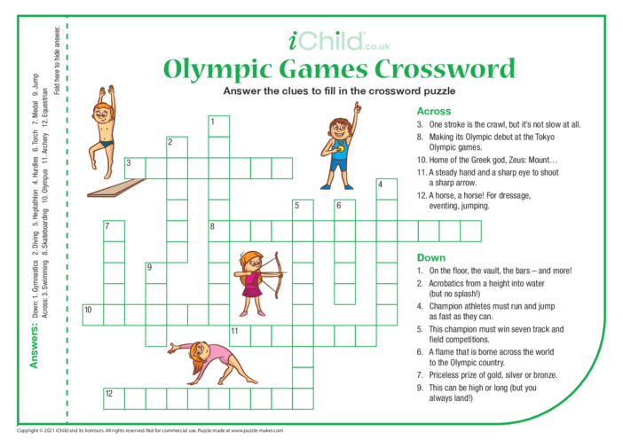 Thumbnail image for the Olympic Games Crossword activity.