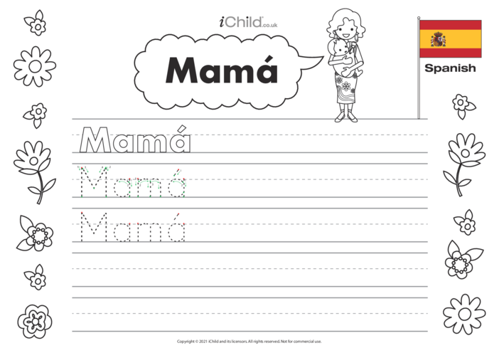 Thumbnail image for the Mummy in Spanish Handwriting Practice Sheet activity.