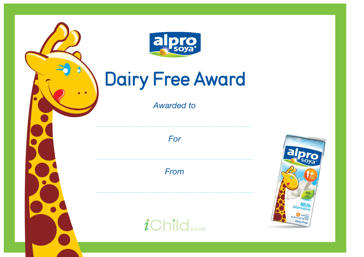Dairy Free Award Certificate