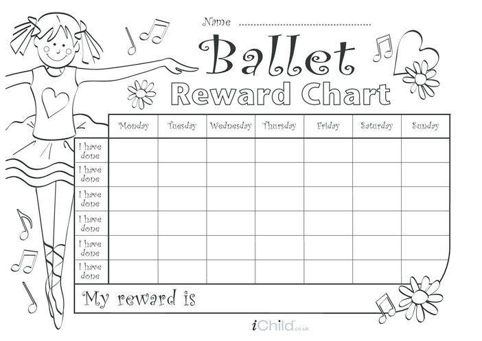 Thumbnail image for the Ballet Reward Chart (black & white) activity.
