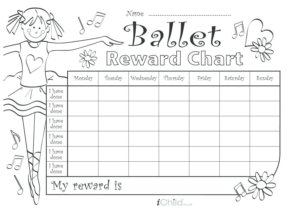 Ballet Reward Chart (black & white)