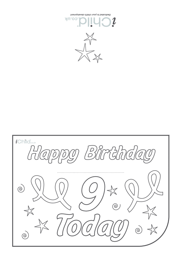 Birthday Card design template for 9 year old 9th birthday
