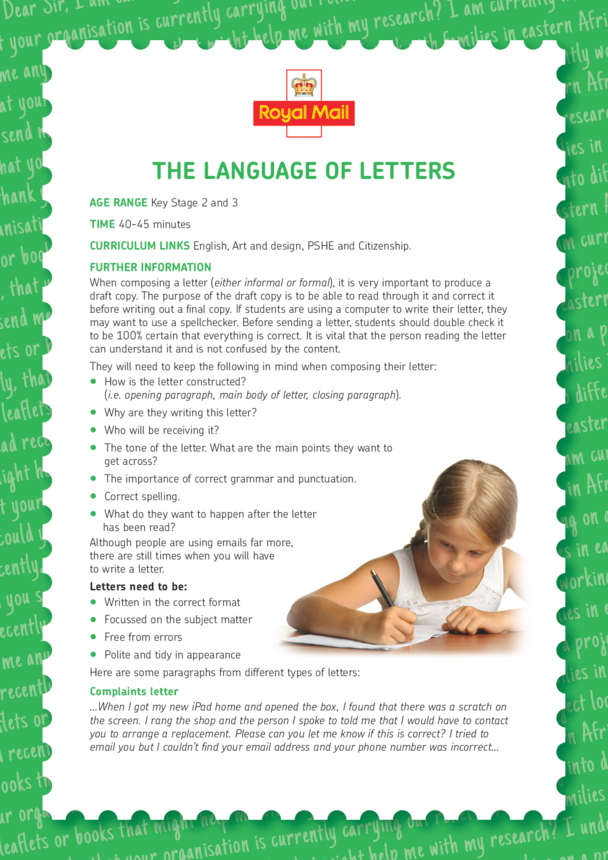 Lesson Plan 4: The Language of Letters