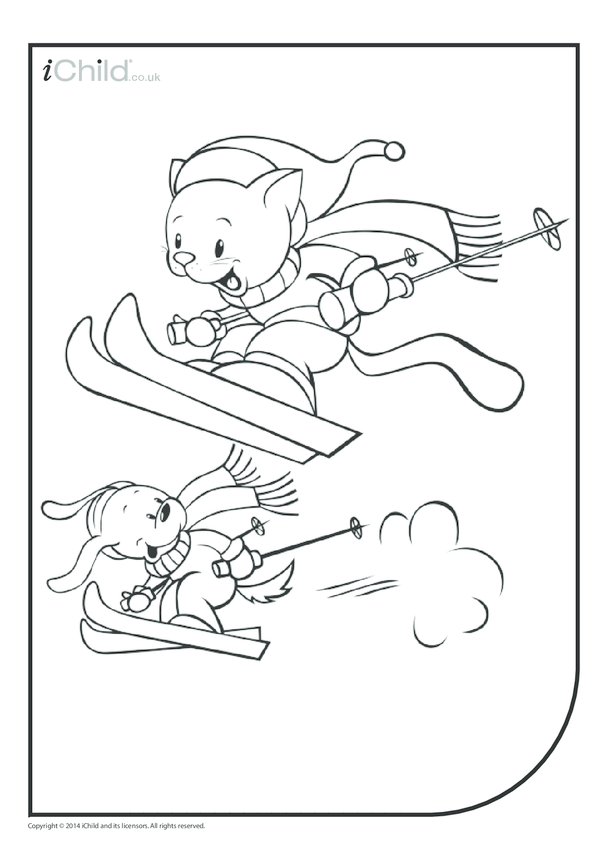Skiing Cats & Dogs Colouring in Picture
