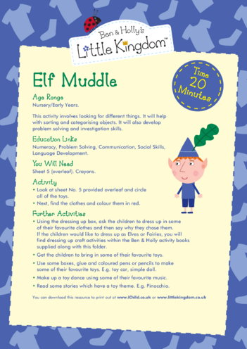 Thumbnail image for the EYFS Resource Sheet 5: Elf Muddle activity.