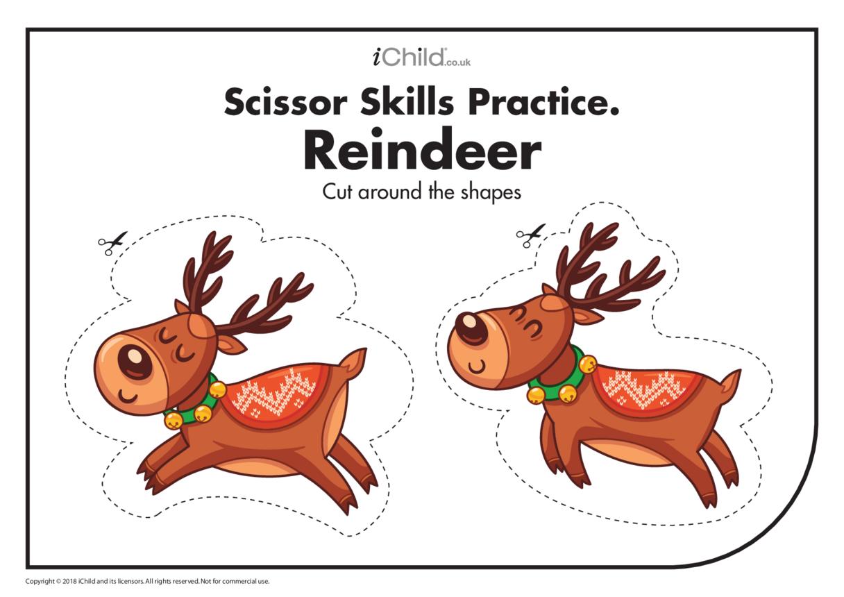 Scissor Skills Practice - Reindeer