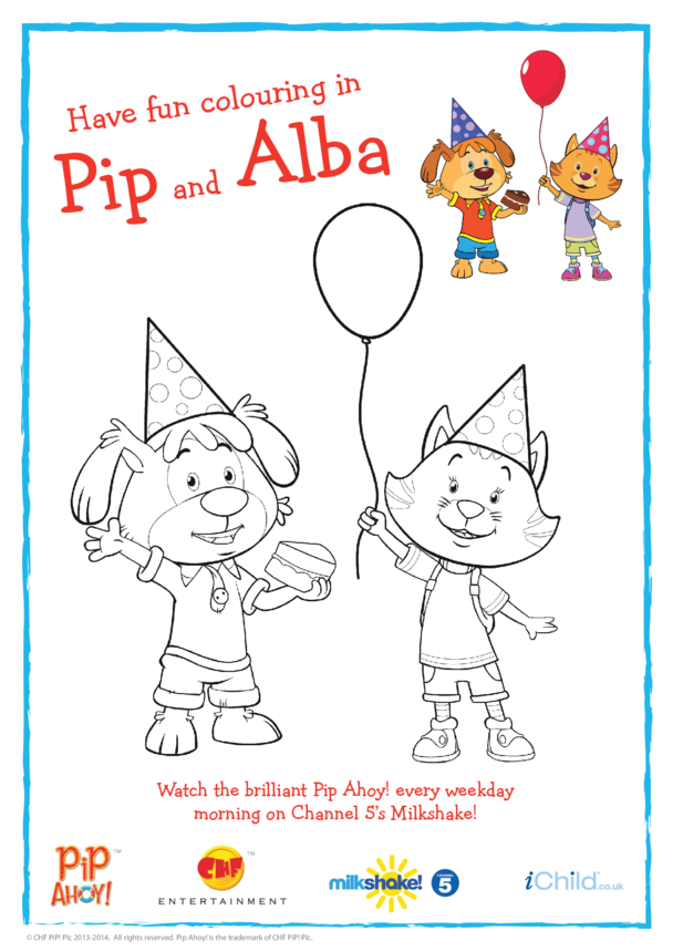 Pip and Alba Birthday Colouring In Picture (Pip Ahoy!)