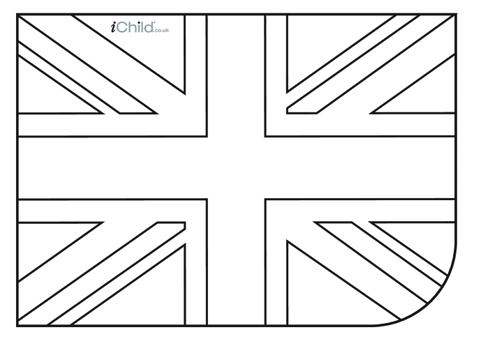 Thumbnail image for the British Union Flag (Union Jack) Colouring in picture activity.