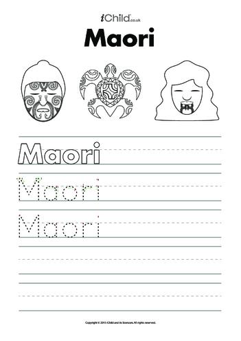 Thumbnail image for the Maori Handwriting Practice Sheet activity.