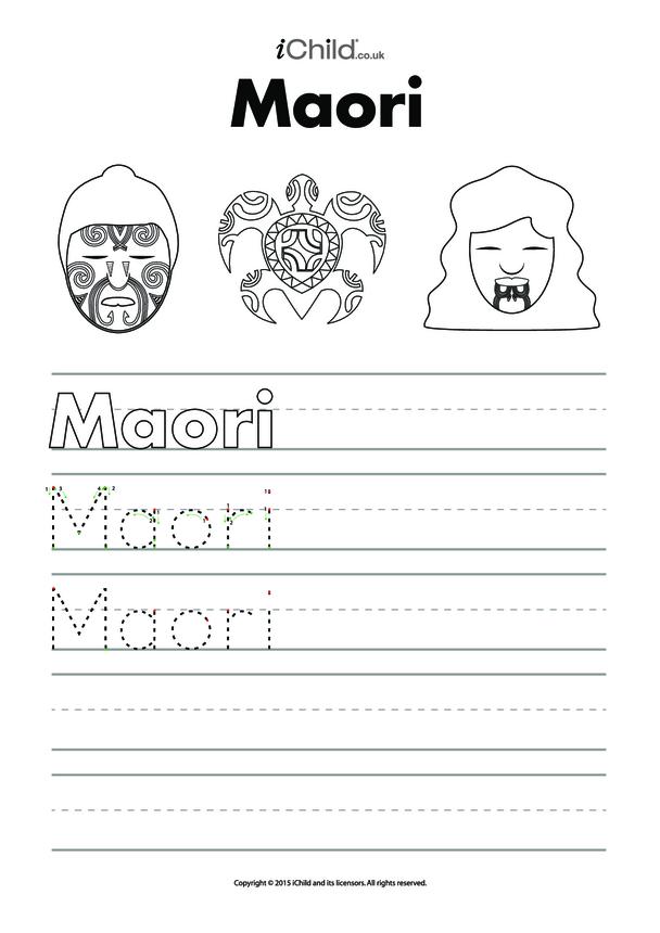 Maori Handwriting Practice Sheet