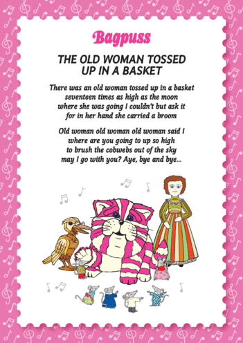 Thumbnail image for the Bagpuss: Old Woman Lyric Sheet (EYFS/KS1) activity.