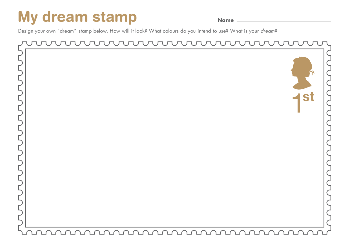 Primary 3) Stamping My Mark- My Dream Stamp Drawing Template (Queen's Head)