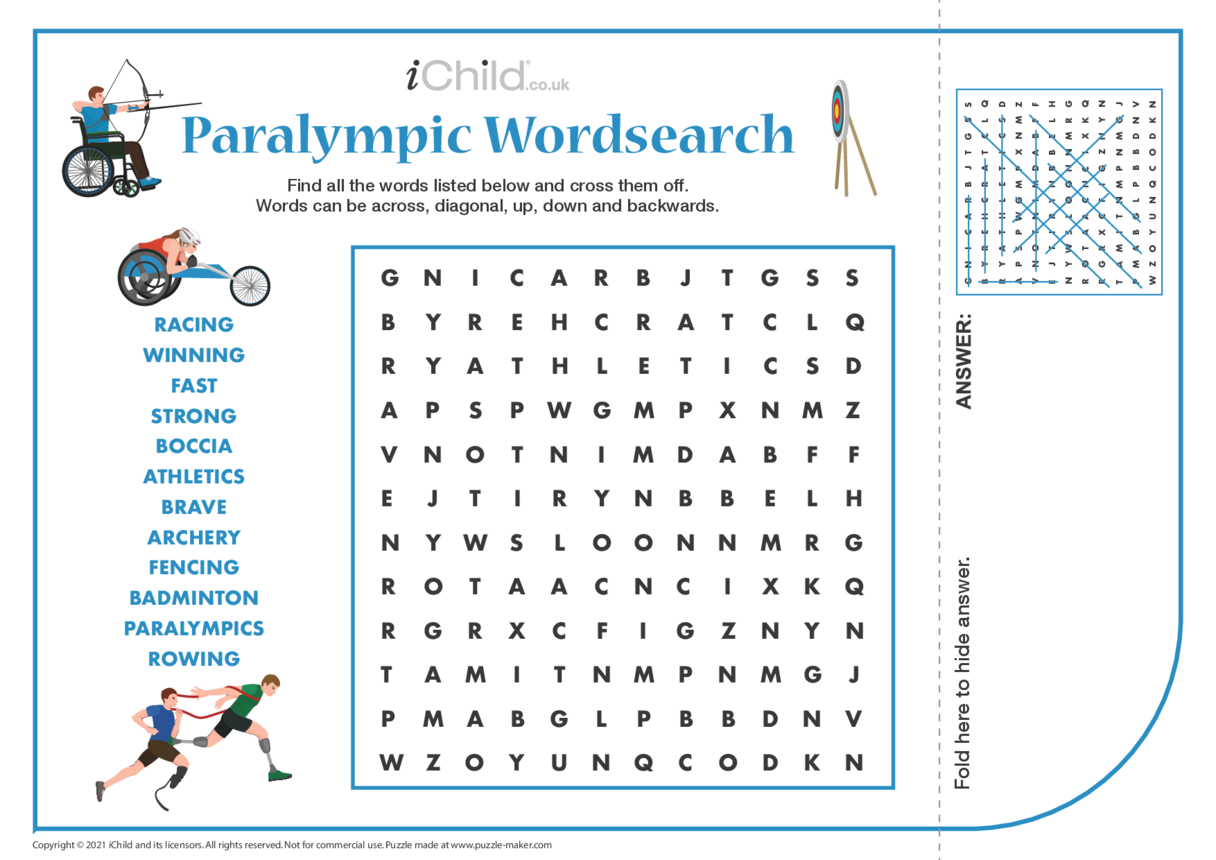 Paralympics Wordsearch