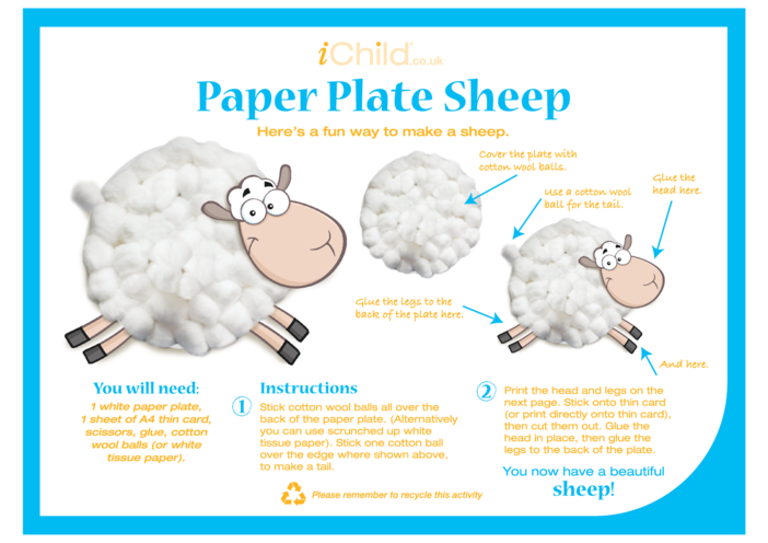 Thumbnail image for the Sheep Paper Plate Craft activity.