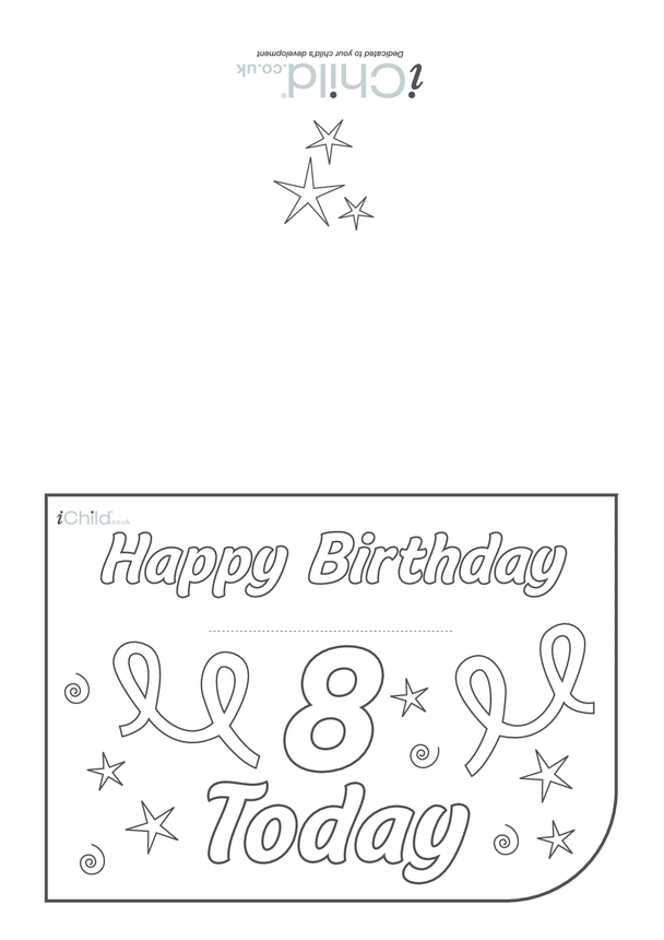 Birthday Card design template for 8 year old 8th birthday