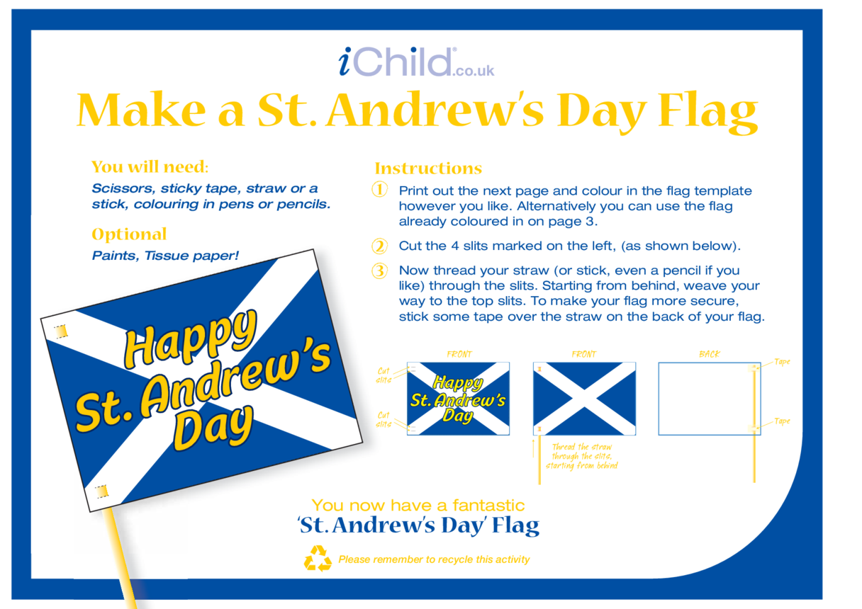 St. Andrew's Day Flag Craft (flag of Scotland)