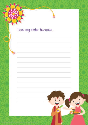 Thumbnail image for the I Love My Sister: Writing Paper Template activity.
