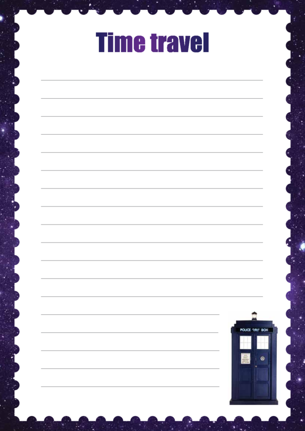 Primary 1) Time Travel Writing Paper Template