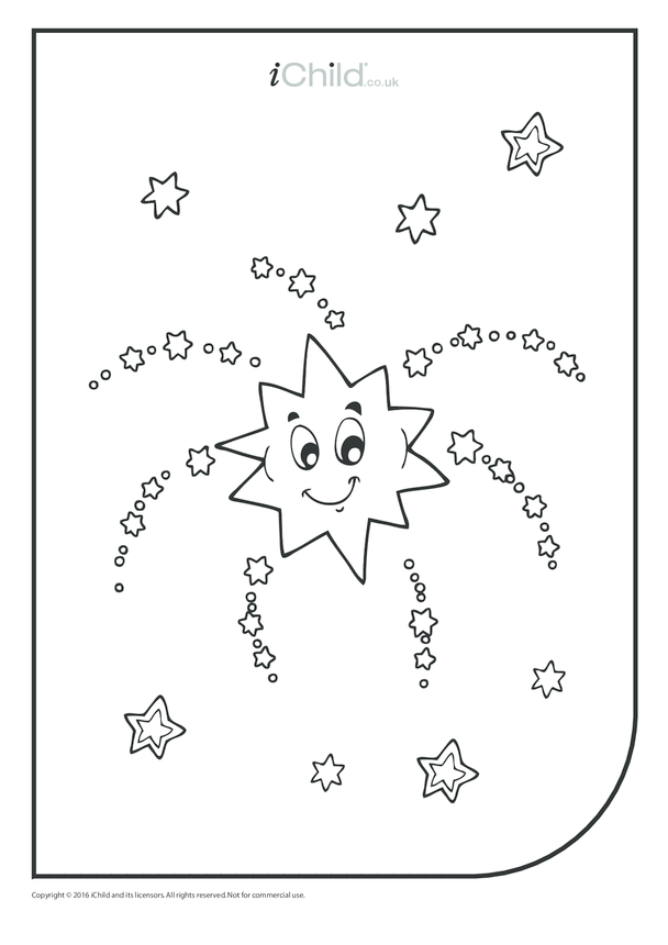 Firework Star Colouring in Picture