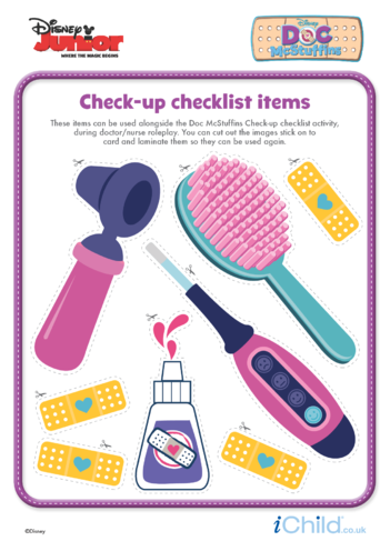 Thumbnail image for the Doc McStuffins Check-up Checklist Items- Disney Junior activity.