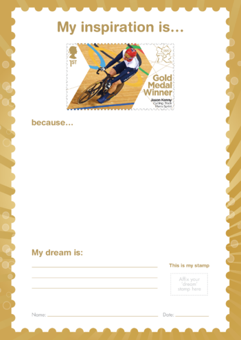 Thumbnail image for the My Inspiration Is- Jason Kenny- Gold Medal Winner Stamp Template activity.