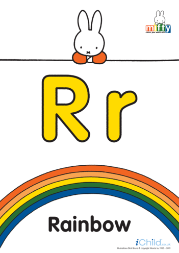 Thumbnail image for the R: Miffy's Letter Rr (less ink) activity.