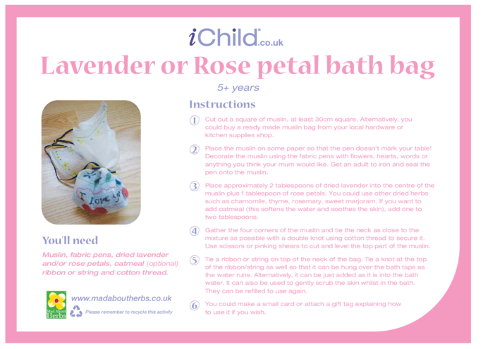 Thumbnail image for the Lavender or Rose Petal Bath Bag activity.
