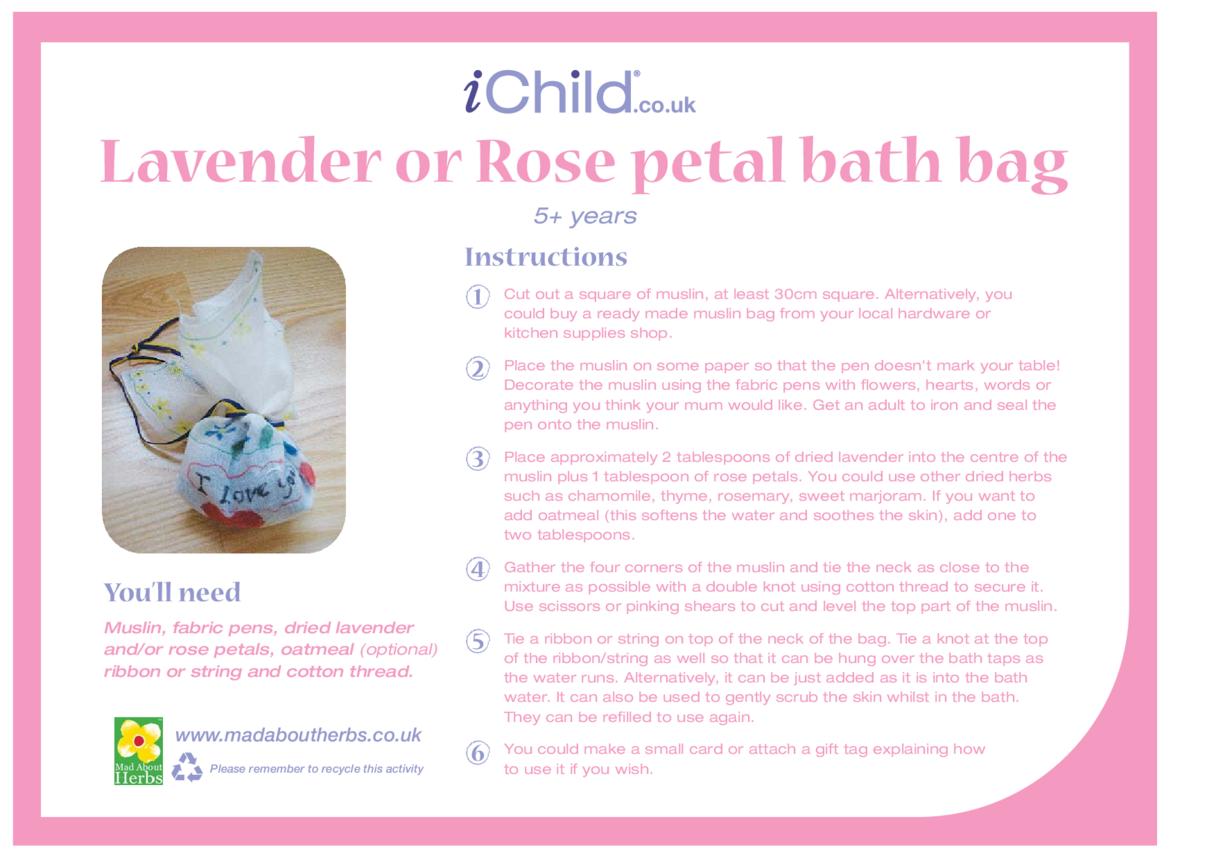 Lavender or Rose Petal Bath Bag