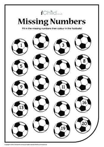 Thumbnail image for the Missing Numbers - Footballs activity.