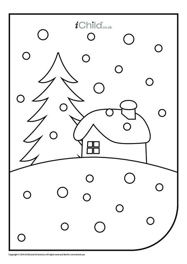 Winter Scene Colouring in Picture