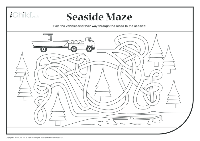 Thumbnail image for the Seaside Maze (black & white) activity.