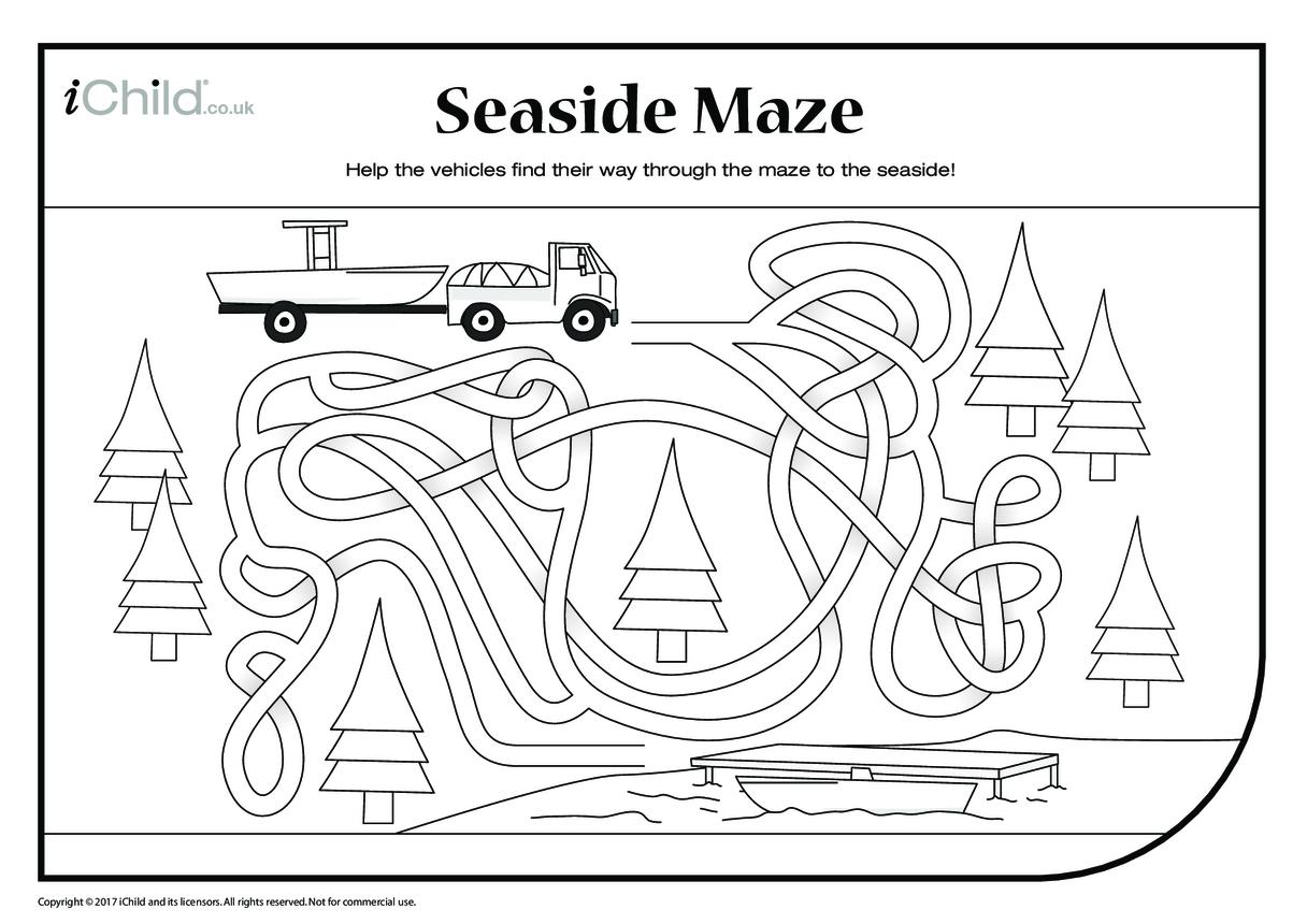 Seaside Maze (black & white)