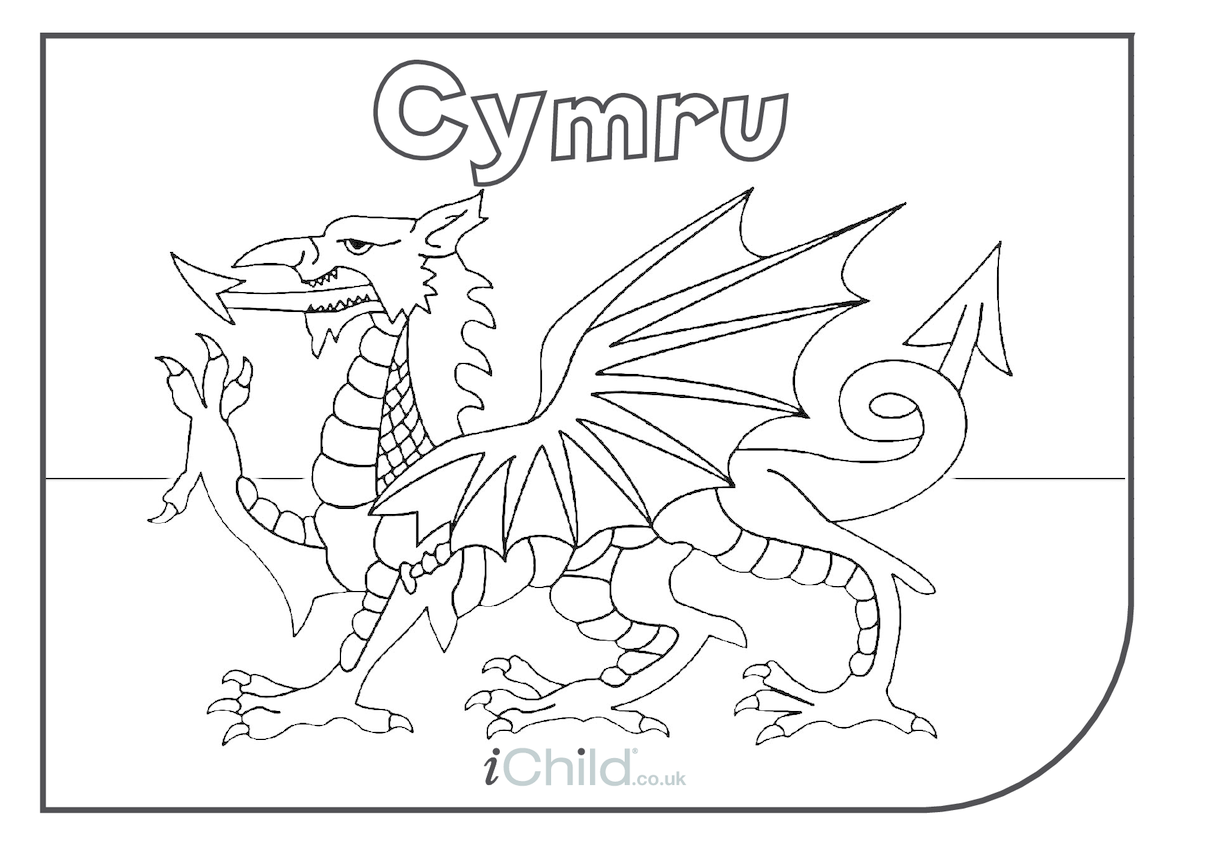 Come on Cymru (aka Wales)! Flag Colouring In Picture