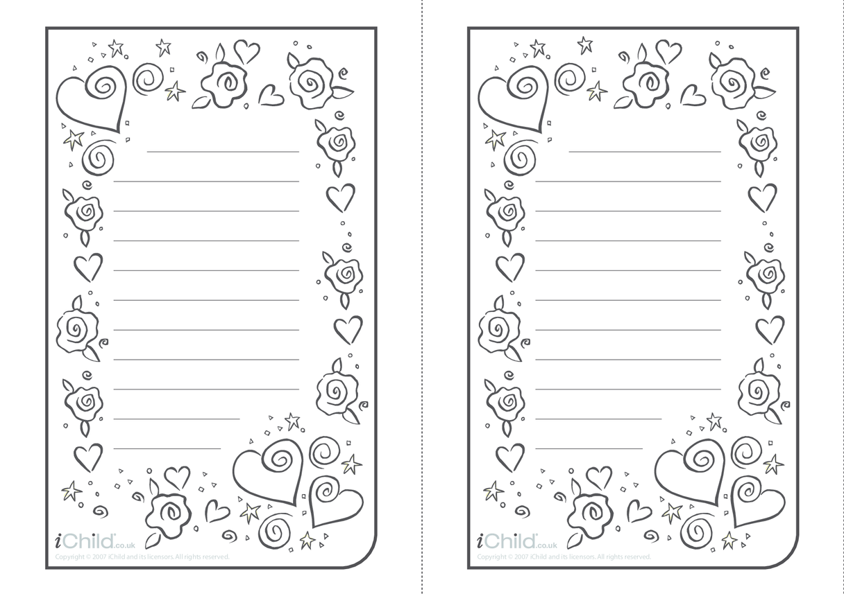 Valentine Lined Writing Paper Template- Vertical
