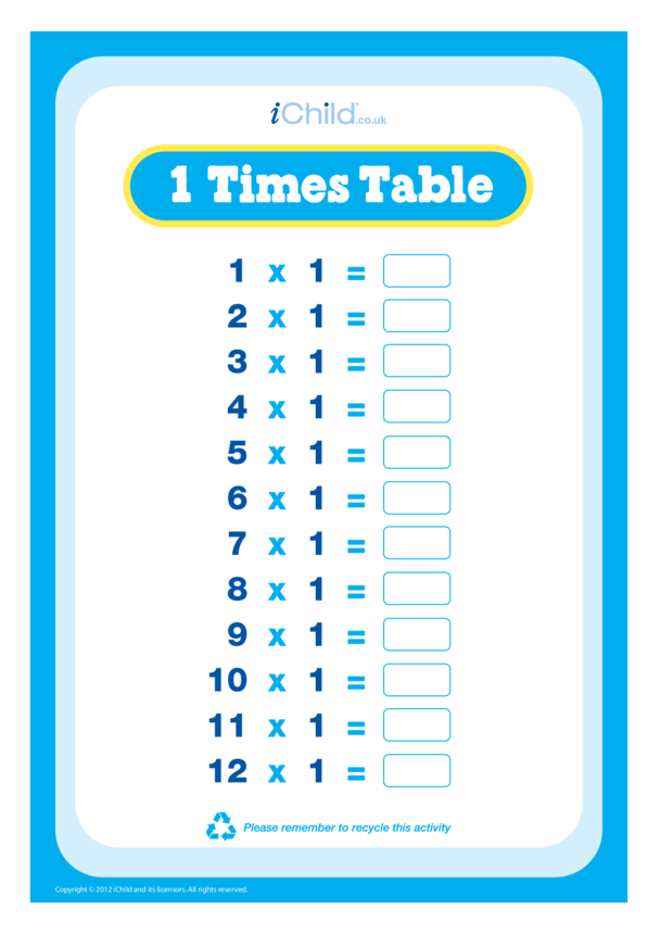 (01) One Times Table Question Sheet